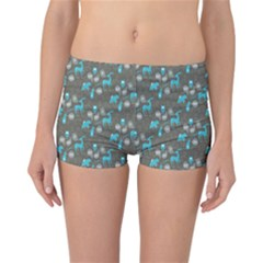 Animals Deer Owl Bird Bear Bird Blue Grey Reversible Bikini Bottoms