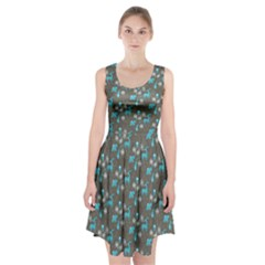 Animals Deer Owl Bird Bear Bird Blue Grey Racerback Midi Dress