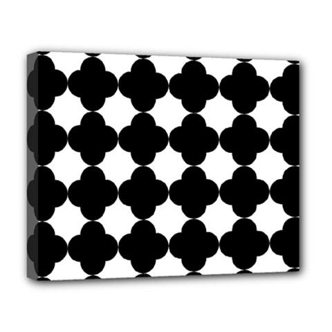 Black Four Petal Flowers Deluxe Canvas 20  x 16