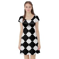 Black Four Petal Flowers Short Sleeve Skater Dress
