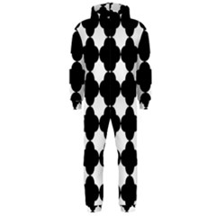 Black Four Petal Flowers Hooded Jumpsuit (Men)
