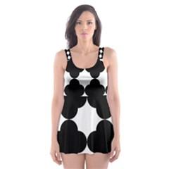 Black Four Petal Flowers Skater Dress Swimsuit