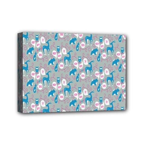 Animals Deer Owl Bird Bear Grey Blue Mini Canvas 7  x 5