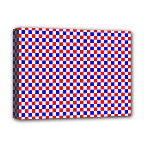 Blue Red Checkered Plaid Deluxe Canvas 16  x 12