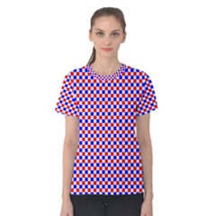 Blue Red Checkered Plaid Women s Cotton Tee