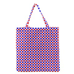 Blue Red Checkered Plaid Grocery Tote Bag