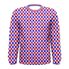 Blue Red Checkered Plaid Men s Long Sleeve Tee