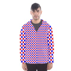 Blue Red Checkered Plaid Hooded Wind Breaker (Men)