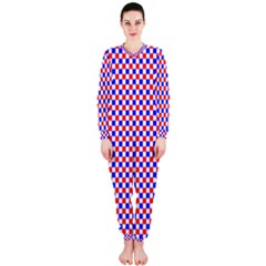 Blue Red Checkered Plaid OnePiece Jumpsuit (Ladies)