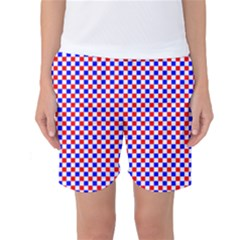 Blue Red Checkered Plaid Women s Basketball Shorts