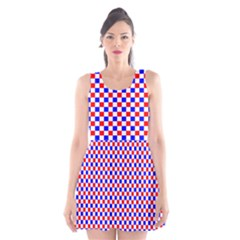Blue Red Checkered Plaid Scoop Neck Skater Dress