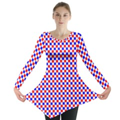 Blue Red Checkered Plaid Long Sleeve Tunic