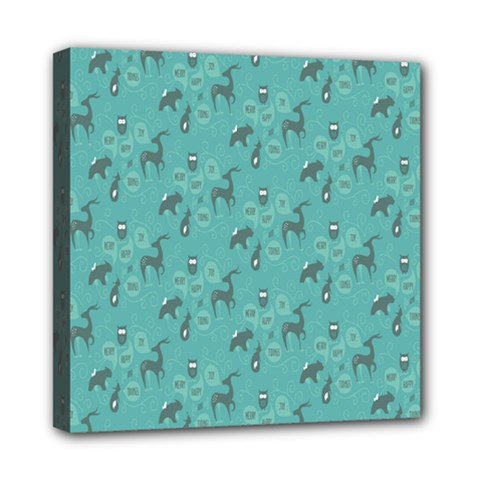 Animals Deer Owl Bird Grey Bear Blue Mini Canvas 8  x 8