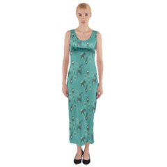 Animals Deer Owl Bird Grey Bear Blue Fitted Maxi Dress