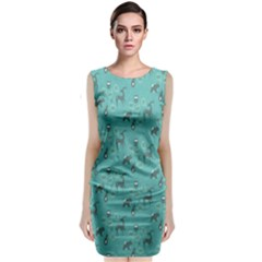 Animals Deer Owl Bird Grey Bear Blue Classic Sleeveless Midi Dress