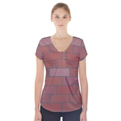 Brick Stone Brown Short Sleeve Front Detail Top