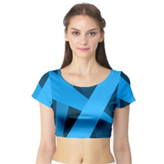 Blue Flag Short Sleeve Crop Top (Tight Fit)