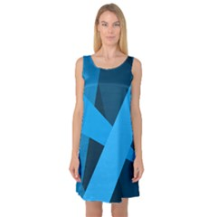 Blue Flag Sleeveless Satin Nightdress