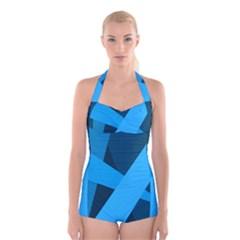 Blue Flag Boyleg Halter Swimsuit