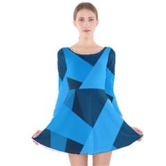 Blue Flag Long Sleeve Velvet Skater Dress