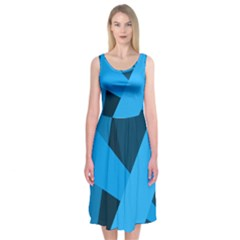 Blue Flag Midi Sleeveless Dress