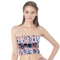 Bird Feathers Circle Sun Flower Floral Purple Pink Tube Top