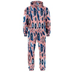 Bird Feathers Circle Sun Flower Floral Purple Pink Hooded Jumpsuit (Men)
