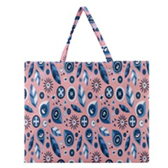 Bird Feathers Circle Sun Flower Floral Purple Pink Zipper Large Tote Bag