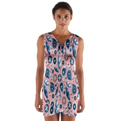Bird Feathers Circle Sun Flower Floral Purple Pink Wrap Front Bodycon Dress