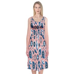 Bird Feathers Circle Sun Flower Floral Purple Pink Midi Sleeveless Dress