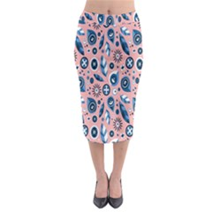 Bird Feathers Circle Sun Flower Floral Purple Pink Midi Pencil Skirt