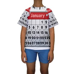 Calendar Clip January Kids  Short Sleeve Swimwear
