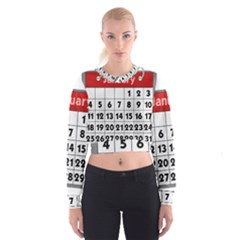 Calendar Clip January Women s Cropped Sweatshirt