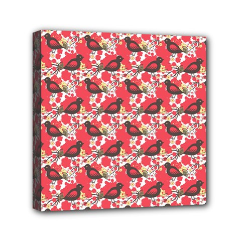 Birds Seamless Cute Birds Pattern Cute Red Mini Canvas 6  x 6