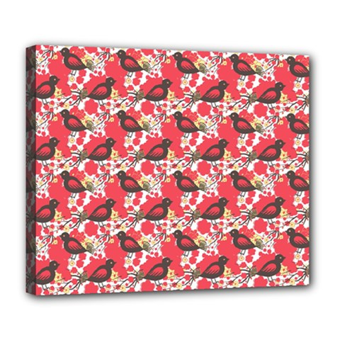 Birds Seamless Cute Birds Pattern Cute Red Deluxe Canvas 24  x 20