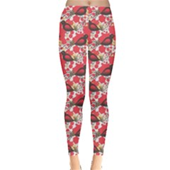 Birds Seamless Cute Birds Pattern Cute Red Leggings