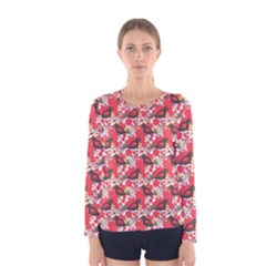 Birds Seamless Cute Birds Pattern Cute Red Women s Long Sleeve Tee
