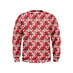 Birds Seamless Cute Birds Pattern Cute Red Kids  Sweatshirt