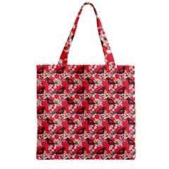 Birds Seamless Cute Birds Pattern Cute Red Zipper Grocery Tote Bag