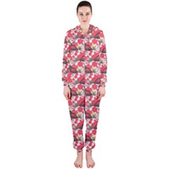 Birds Seamless Cute Birds Pattern Cute Red Hooded Jumpsuit (Ladies)