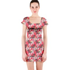 Birds Seamless Cute Birds Pattern Cute Red Short Sleeve Bodycon Dress