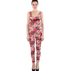 Birds Seamless Cute Birds Pattern Cute Red OnePiece Catsuit