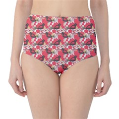 Birds Seamless Cute Birds Pattern Cute Red High-Waist Bikini Bottoms