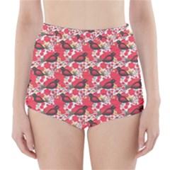 Birds Seamless Cute Birds Pattern Cute Red High-Waisted Bikini Bottoms