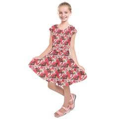 Birds Seamless Cute Birds Pattern Cute Red Kids  Short Sleeve Dress