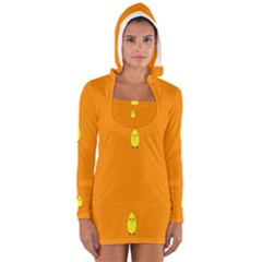 Chicks Orange Animals Women s Long Sleeve Hooded T-shirt