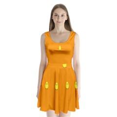 Chicks Orange Animals Split Back Mini Dress