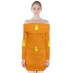 Chicks Orange Animals Long Sleeve Off Shoulder Dress