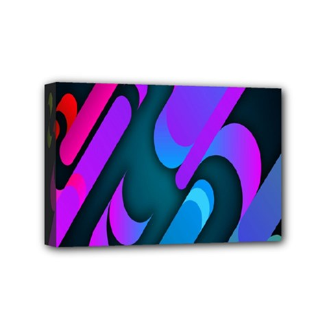 Chevron Wave Rainbow Purple Blue Pink Mini Canvas 6  x 4