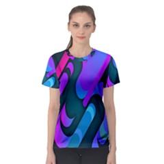 Chevron Wave Rainbow Purple Blue Pink Women s Sport Mesh Tee